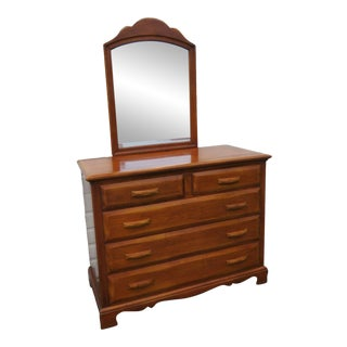 Mid Century Modern Maple Dresser Vanity With Mirror by Kling Furniture For Sale