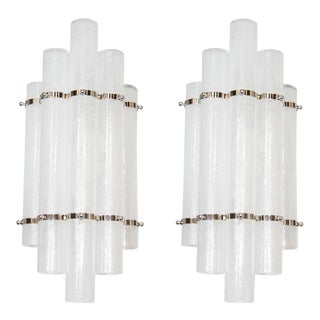 Pair of Mid-Century Modernist Pulegoso Glass Tubular Sconces in Nickel For Sale