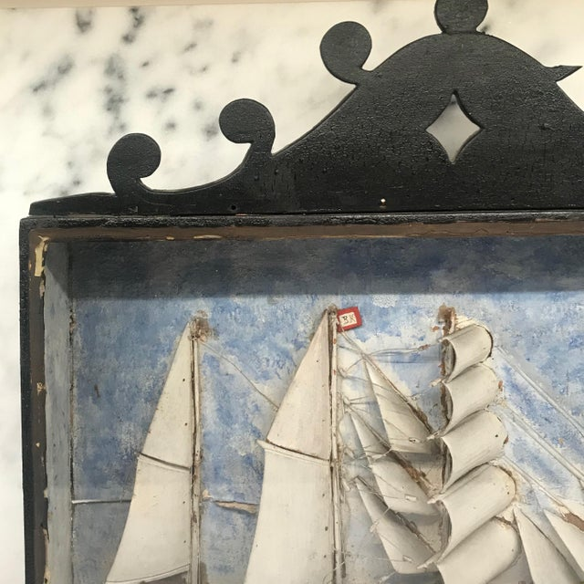 Early 19th Century Diorama Shadow Box of Sailing Vessel For Sale - Image 4 of 11