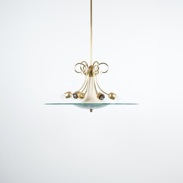 Mid-Century Modern Large Chandelier Luigi Brusotti Glass Brass, Italy, Circa 1940 For Sale - Image 3 of 13
