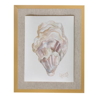 "Contemporary Oyster Watercolor Painting on Paper ""East Coast Iii"" by Leigh-Anne O'Brien (Lagob), Framed For Sale"
