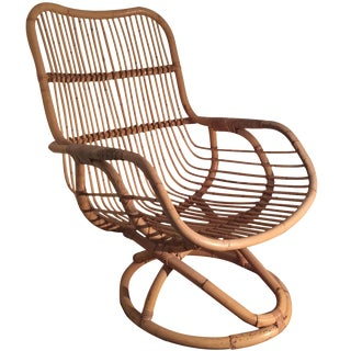 Vintage Mid-Century Rattan Chair For Sale