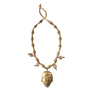 African Baule Gold Weight Passport Mask Necklace For Sale