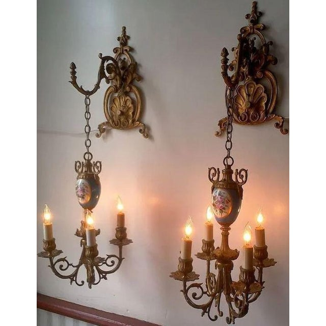 Pair of Beautiful Floral Pendant Lights or Sconces For Sale - Image 4 of 10