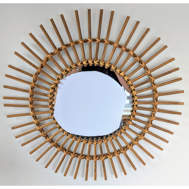 Boho Chic Rattan and Wooden Starburst Mirror For Sale - Image 4 of 9