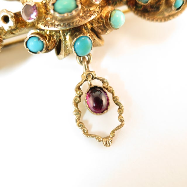 Metal Georgian Baroque Brooch 10k Gold Amethyst Turquoise Pearls Circa 1840 For Sale - Image 7 of 12