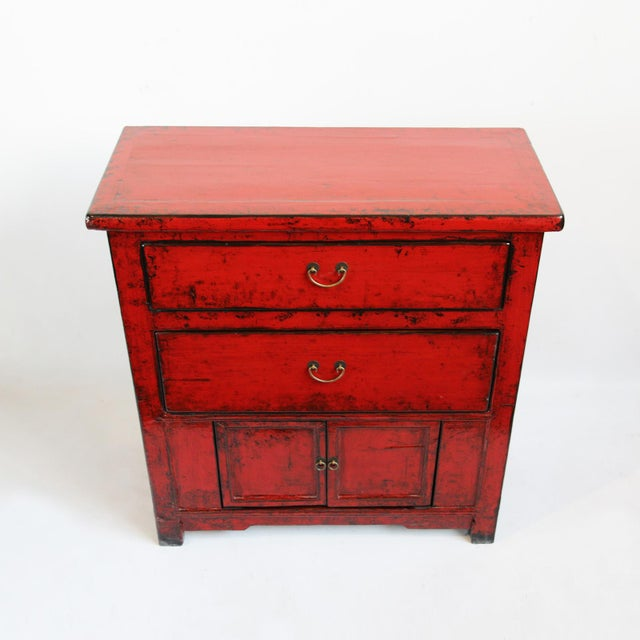 Red Lacquer Side Cabinet - Image 2 of 4