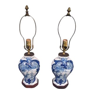 Mid 19th Century Delft Lamps - a Pair For Sale
