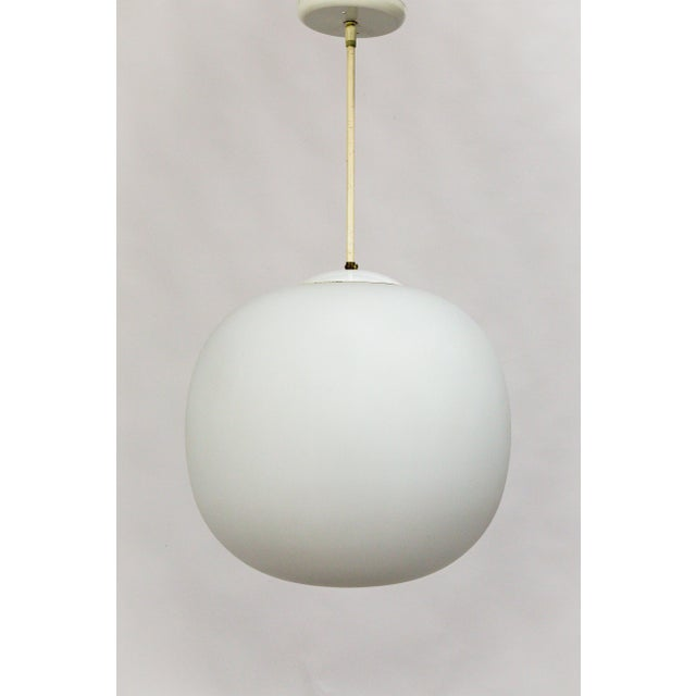 Danish Modern Flattened White Glass Sphere Pendants (2 Available) For Sale - Image 4 of 11