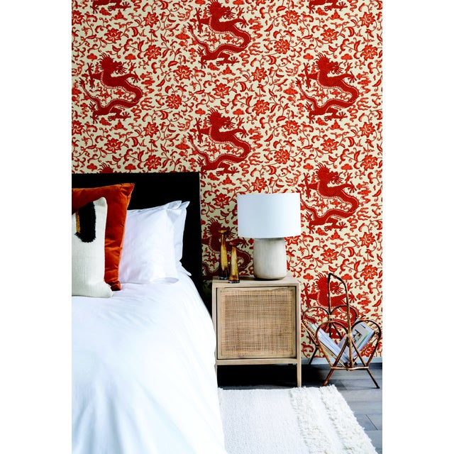 Peel & Stick vinyl wallcovering. 6 yd, 30.75 square feet. Scalamandré's classic dragon pattern is a fan favorite. The...