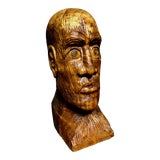 Image of 1970s Vintage Solid Wood Hand-Carved Male Bust Sculpture For Sale