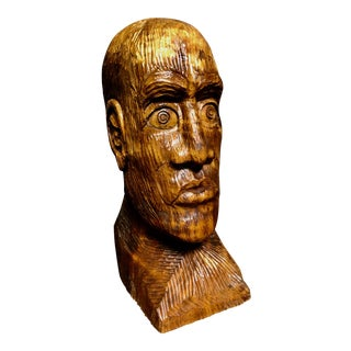 1970s Vintage Solid Wood Hand-Carved Male Bust Sculpture For Sale