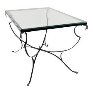 Mid-Century Modern Figural Wrought Iron Glass Top Outdoors Dining Table For Sale