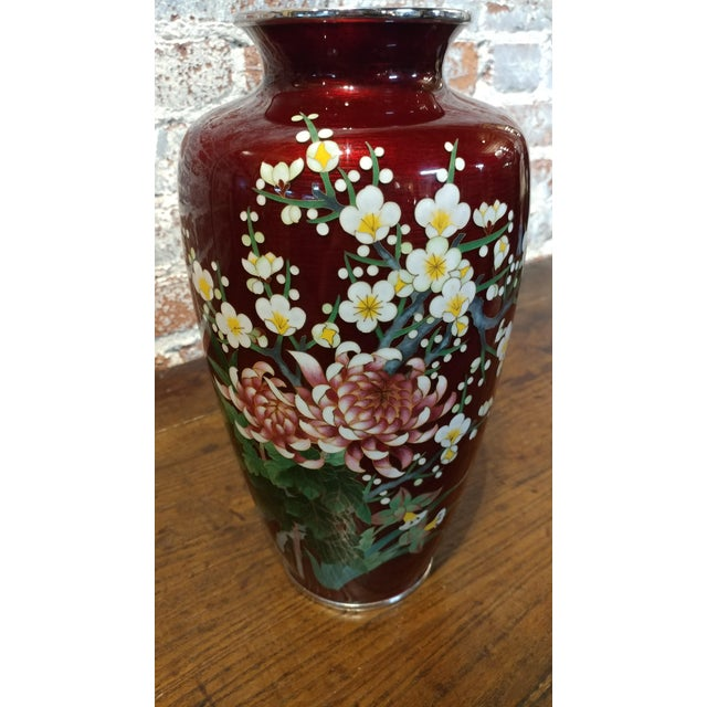 Vintage Japanese Beautiful Red Cloisonn Flower Vase Chairish