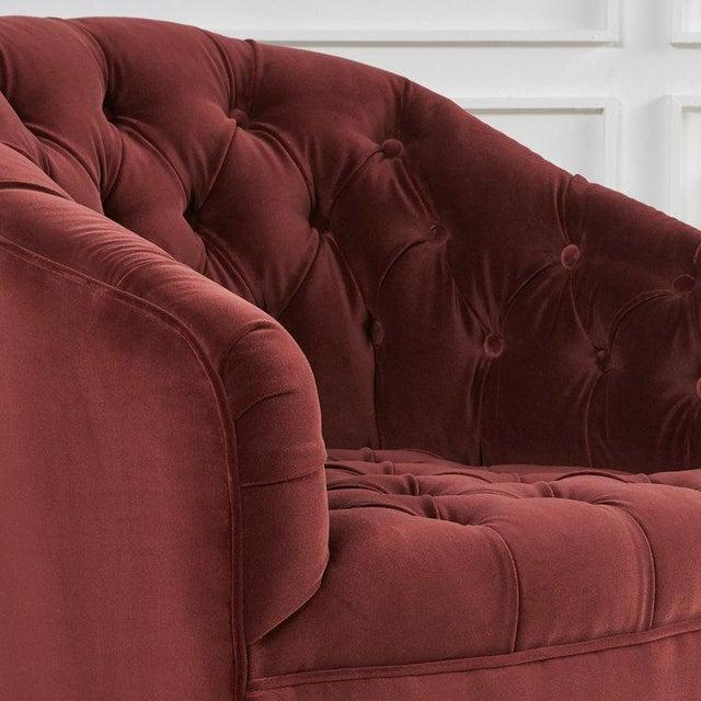 Mid-Century Modern Pair of Tufted Velvet Swivel Chairs For Sale - Image 3 of 6