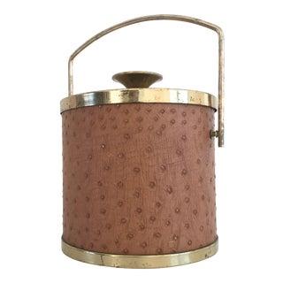 1960s Vintage Brass & Faux Ostrich Barware Ice Bucket For Sale