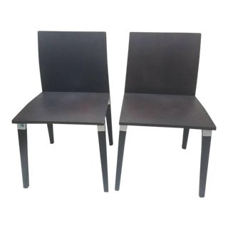 Molteni Ho Modern Wood & Metal Chairs - a Pair