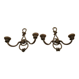 Brass Rope Candle Sconces For Sale