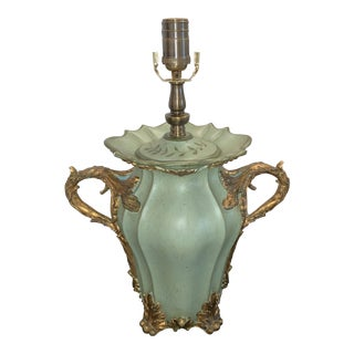 Wooden Celadon Urn Lamp With Gilt Accents For Sale