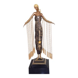 Erte 1990 Limited Edition Art Deco Woman Bronze Statue For Sale