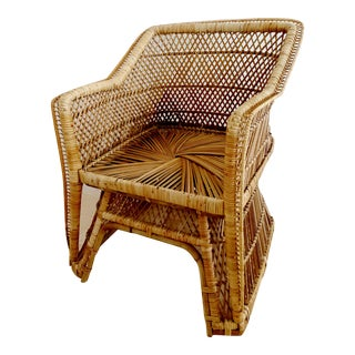1970s Boho Chic Rattan Wicker Arm Chair For Sale