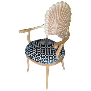 Edward Wormley Style Calm Shell Back Armchair For Sale
