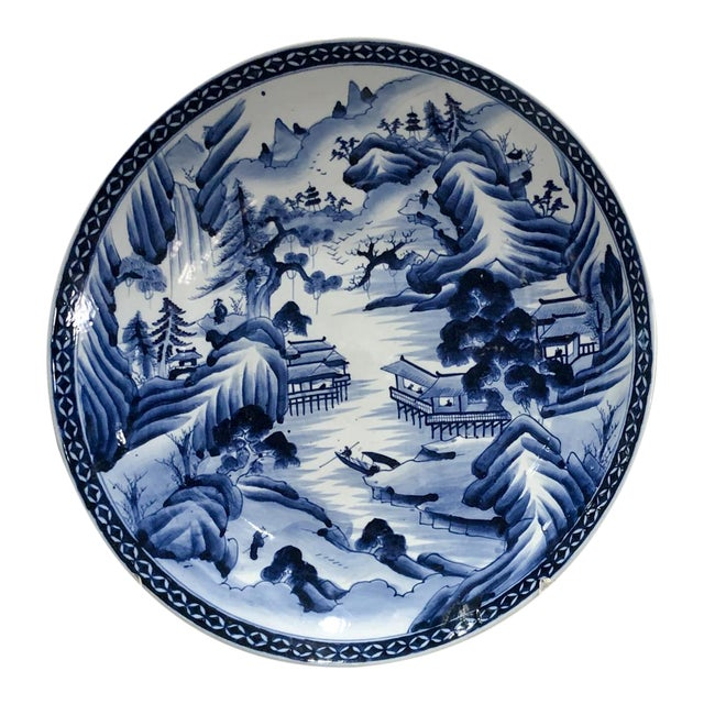 Large Imari Blue and White Charger, Japan 19th Century For Sale