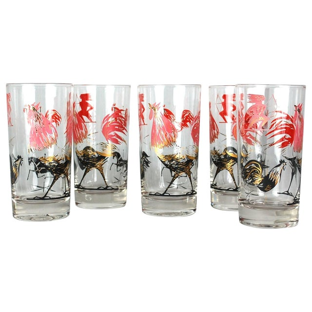 Mid-Century Rooster Highball Glasses - Set of 5 - Image 1 of 6