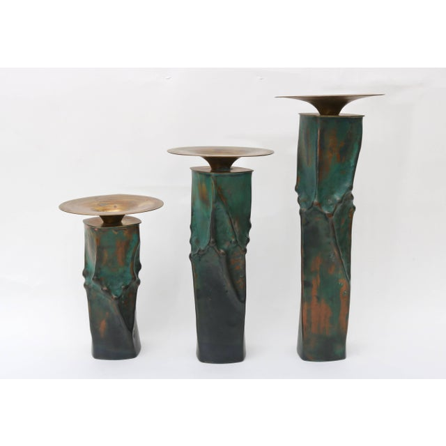 Brutalist Brutalist Oxodized Copper and Brass Candleholders - Set of 3 For Sale - Image 3 of 11