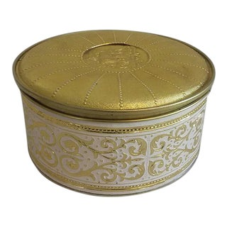 Vintage Gold & White Embossed Scroll Tin