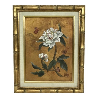 "Vintage ""Floral Still Life"" Signed Oil Painting in Gold Bamboo Frame For Sale"