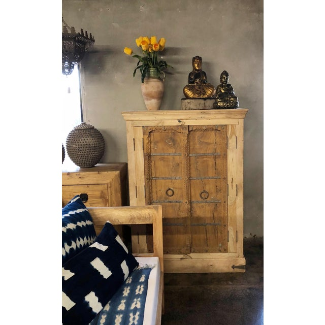 Wood Antique Old Door Indian Cabinet For Sale - Image 7 of 8