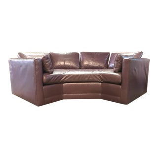 Geometrical Shaped Vintage Leather Sofa