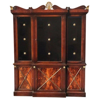 Hollywood Regency Mahogany Breakfront or Bookcase For Sale