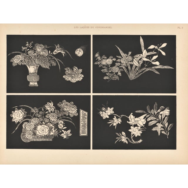 """This is an Art Deco design plate from an French unbound album of Chinese lacquerwork called """"les Laques du Coromandel. The..."""