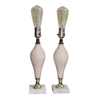 1950s Vintage Diamond Cut Opaque Glass Boudoir Lamp Set - a Pair For Sale