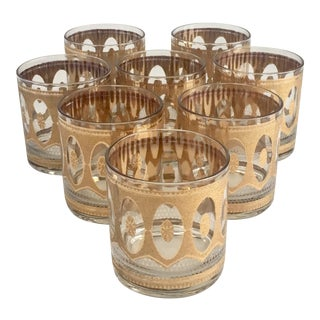 Culver Regency 22k Gold Cocktail Glasses - Set of 8