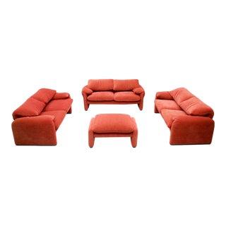 Vico Magistretti Living Room Set Maralunga Sofa and Stool Cassina, Italy, 1973 For Sale