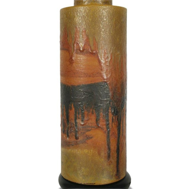 Brass Marcello Fantoni Desert Tone Drip Glaze Ceramic Table Lamp For Sale - Image 7 of 7