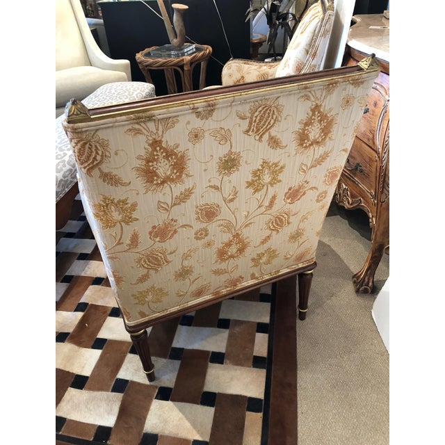 Lovely Pair of Carved Gilded Wood and Upholstered French Bergère For Sale - Image 4 of 13
