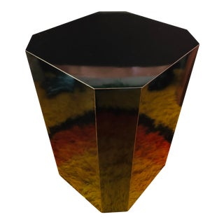 Vintage Black Lacquer Pedestal Side Table For Sale