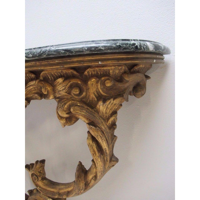 Antique French Carved Marble Top Wall Shelf Console - Image 4 of 11