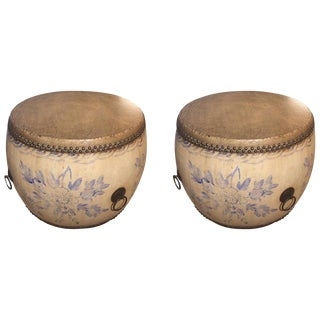 Large Drum End Tables - a Pair