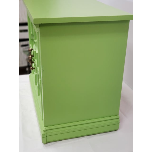 Ornate Wood Side Table with 2 drawers. Professionally painted with a beautiful shade of lime Green by Sherwin Williams...