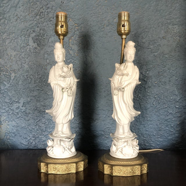 Blanc De Chine Quan Yin Goddess Table Lamps - a Pair For Sale - Image 12 of 12