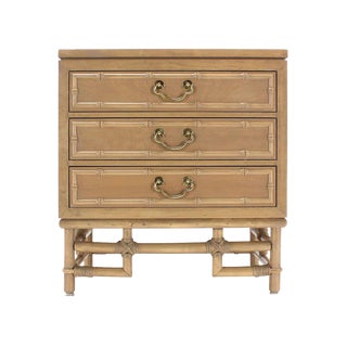 Faux Bamboo Three Drawer Petite Beige Lacquer Chest Dresser Brass Pulls For Sale