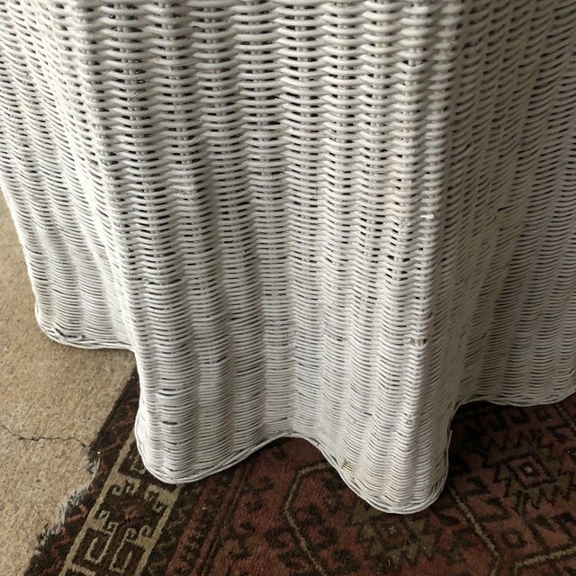 Trompe L'oeil Skirted White Side Table For Sale - Image 4 of 5