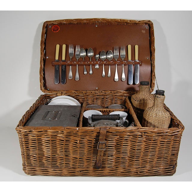 Vintage English ' Sirram ' Wicker Kettle & Tea Service for 4 Picnic Set - 45 Pieces For Sale - Image 11 of 11
