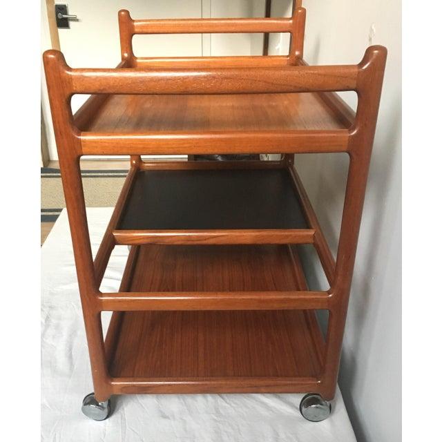Teak Johannes Andersen Mid-Century Solid Teak Bar Cart For Sale - Image 7 of 11