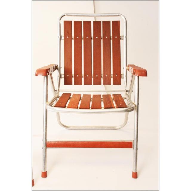 Vintage Redwood & Aluminum Folding Patio Chairs - A Pair For Sale - Image 5 of 11